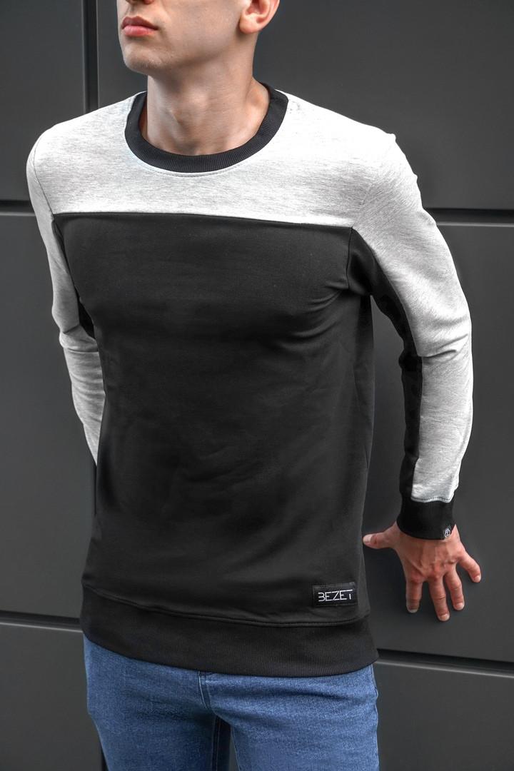 Мужская стильная кофта свитшот BEZET Grey/black