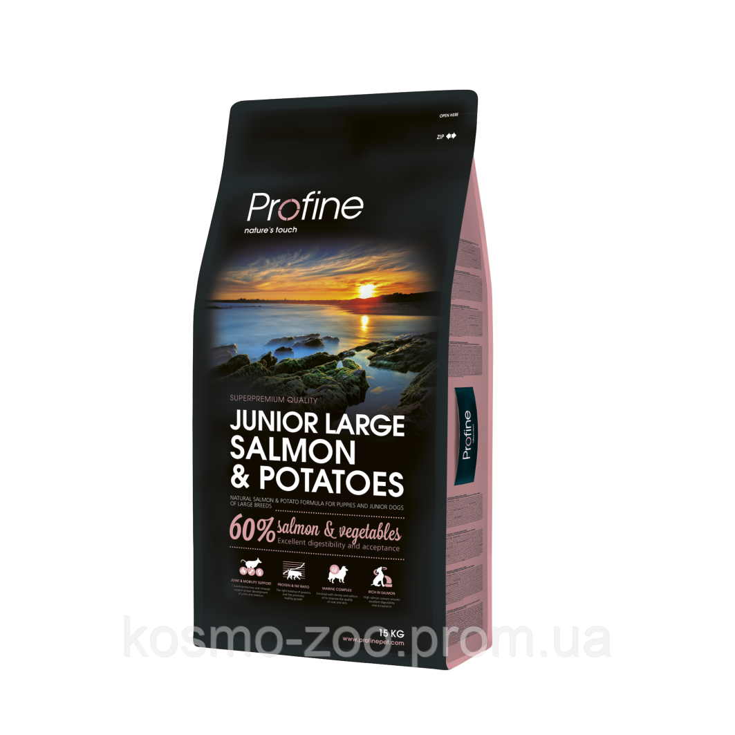 Сухой корм Профайн для щенков крупных пород (Profine Junior Large Breed Salmon & Potatо) c лососем, 15кг