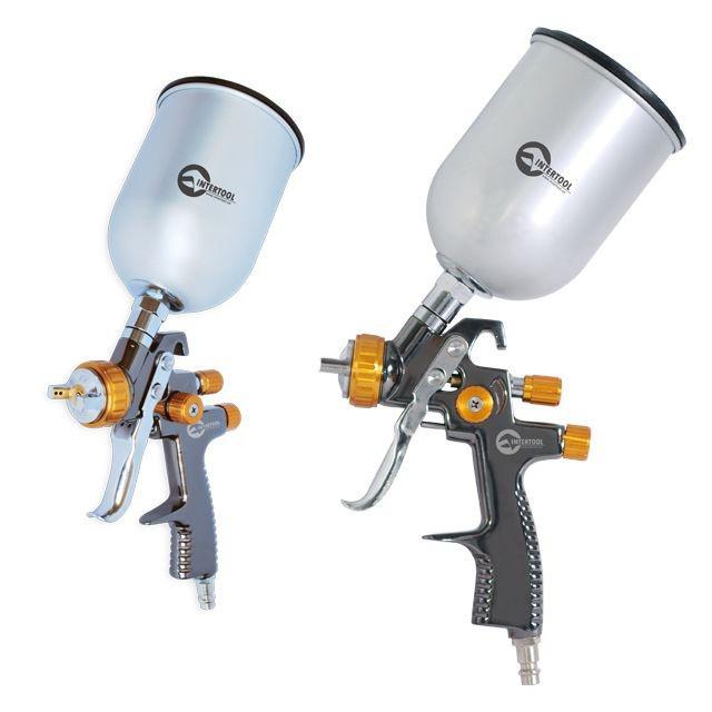 LVLP BRONZE Професійний фарборозпилювач 1,8 мм, верхній металевий бачок 600 мл. INTERTOOL PT-0135