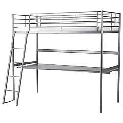✅ IKEA SVARTA (591.512.71) Кровать-чердак, серебристый