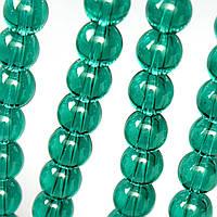 Бусины хрустальные Шар D- 8мм пачка - примерно 48шт, цвет - изумрудный прозрачный
