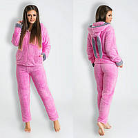 Пижама женская махровая розовая