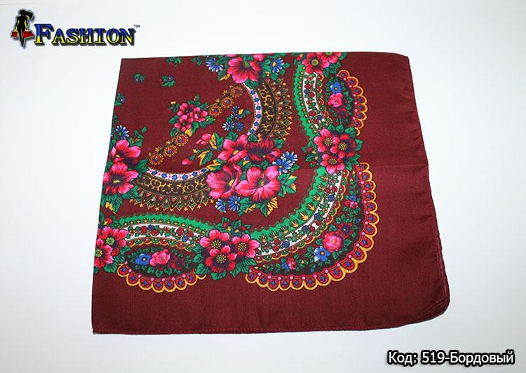 Украинский маленький бордовый платок Стефания