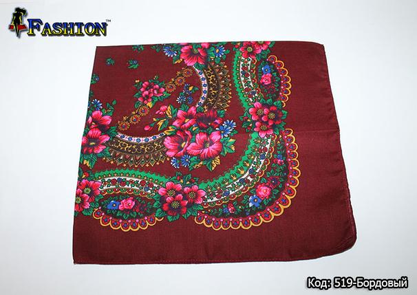 Украинский маленький бордовый платок Стефания, фото 2