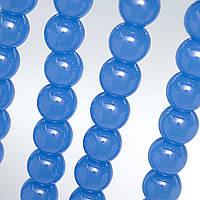 Бусины хрустальные Шар D- 8мм пачка - примерно 48шт, цвет - голубой непрозрачный