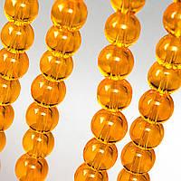 Бусины хрустальные Шар D- 8мм пачка - примерно 48шт, цвет - янтарный прозрачный