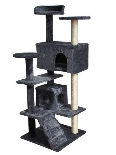 Дерево домик когтеточка когте точка драпак дряпка для кота кошки120см сіре