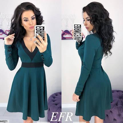 ce905825768 Красивое осеннее платье мини солнце клеш рукав длинный глубокое декольте трикотажное  цвет бутылка
