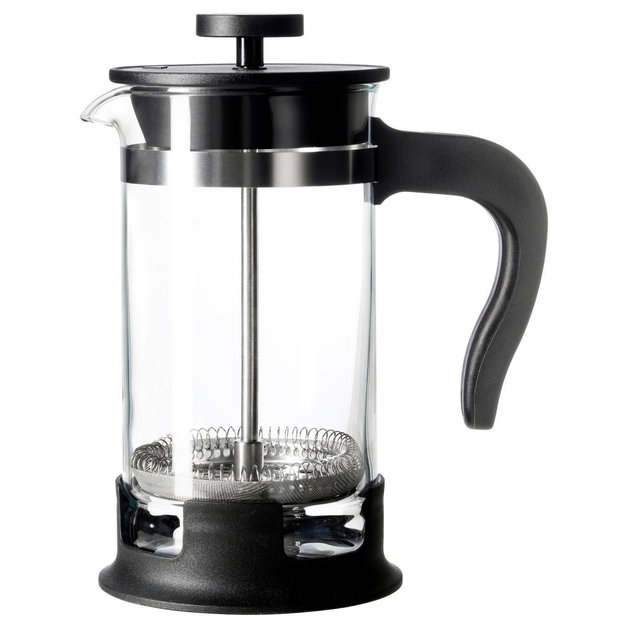 ✅ IKEA UPPHETTA (002.978.50) Кофе-пресс/заварочный чайник, стекло, нержавеющая сталь