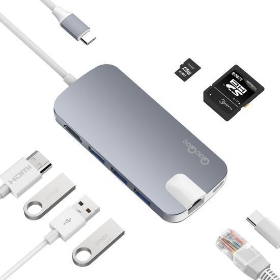 Концентратор HUB QacQoc USB-C Aluminium Gray (GN30H)