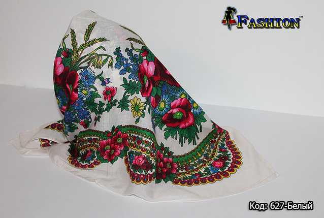 Українська хустка біла маленька Колосок, фото 2