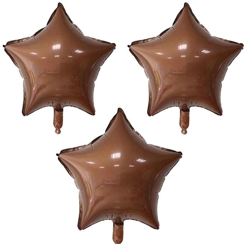 Фольгований куля зірка,колір Кава 45 див.