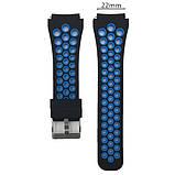 Спортивний ремінець з перфорацією для годин Xiaomi Huami Amazfit SportWatch 2 / Amazfit Stratos - Black&Blue, фото 2