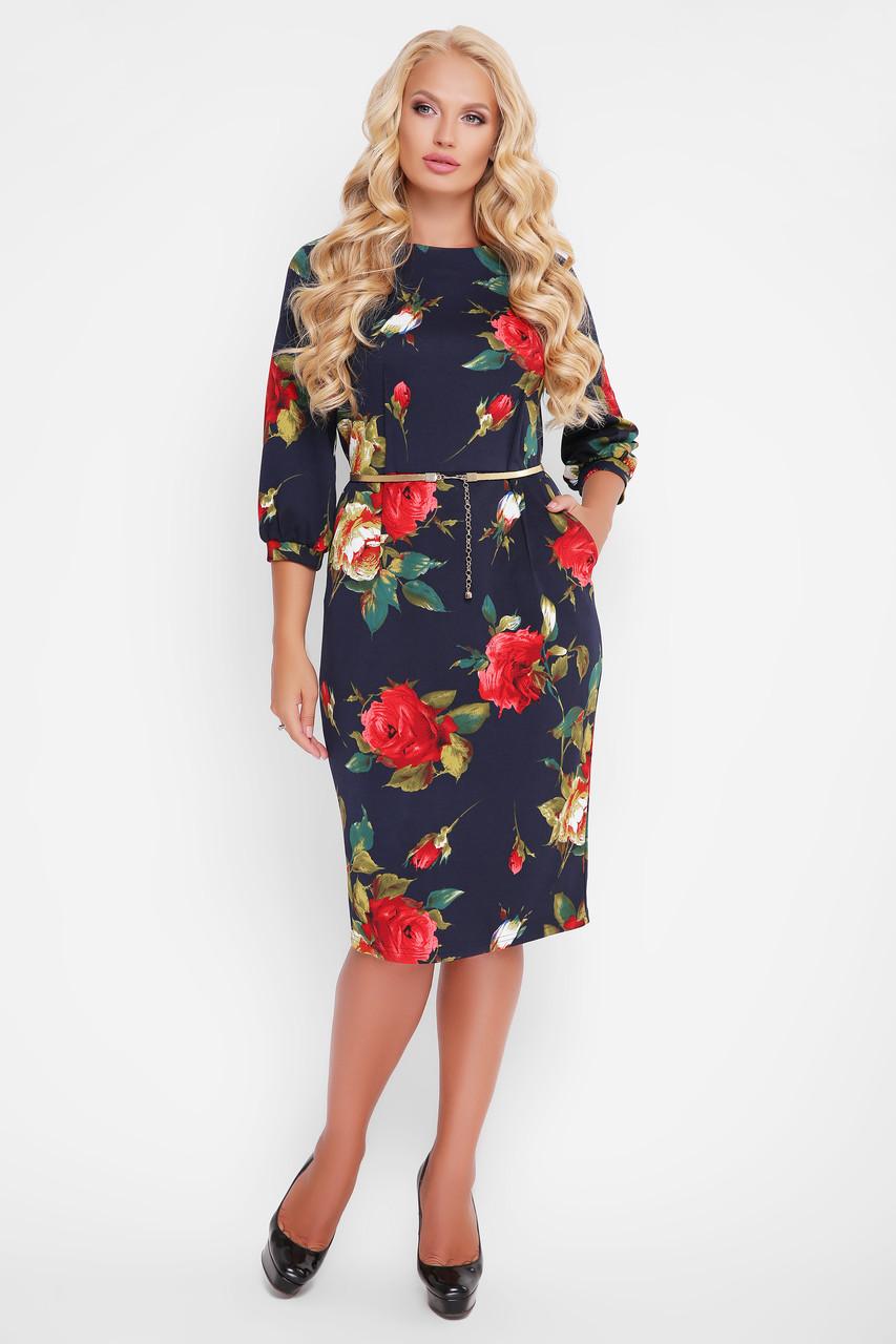 12bb0961e1de335 Трикотажное Женское Платье Кэйт Крупные Розы — в Категории