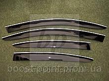 Дефлекторы окон (ветровики) с хром полосой (кантом-молдингом) Subaru Impreza II (субару импреза 2 2000г-2007г)