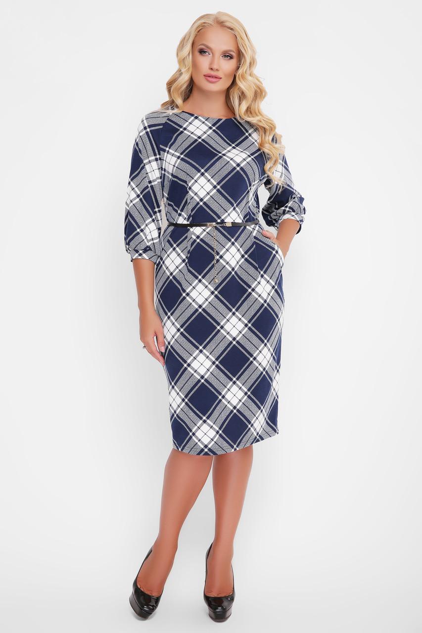 Трикотажное женское платье Кэйт синяя клетка