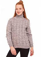 Теплый свитер на девочку с высоким горлом серый