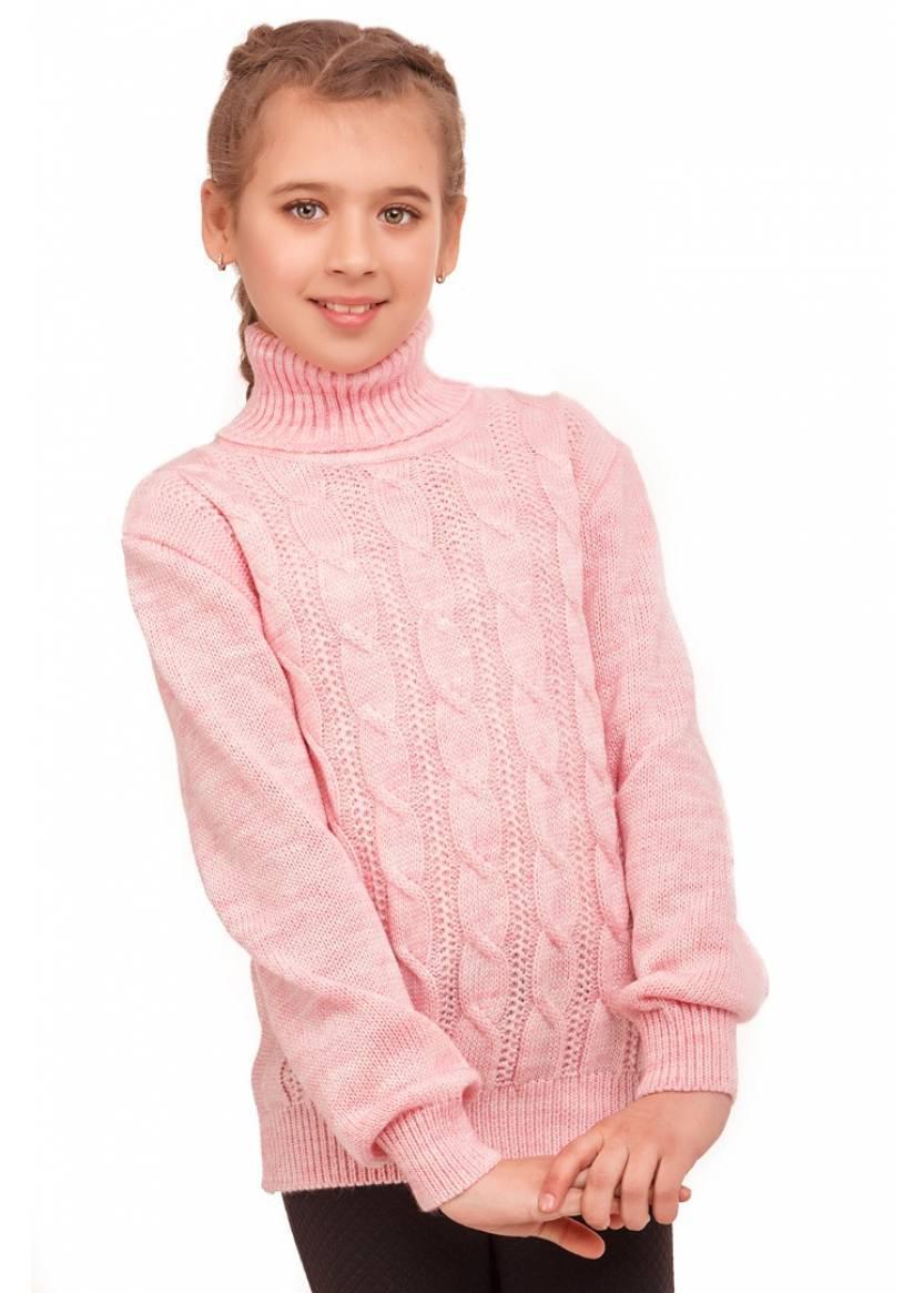 Теплый свитер на девочку с высоким горлом розовый
