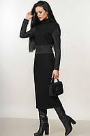 Замшевое платье трикотажное миди, демисезонное теплое женское деловое