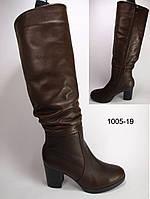 Женские кожаные зимние сапоги на каблуке, высокие зимние сапоги от производителя модель КА1005-19