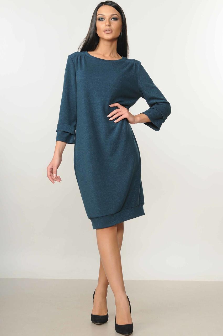 Демисезонное платье женское миди, осеннее трикотажное с люрексом
