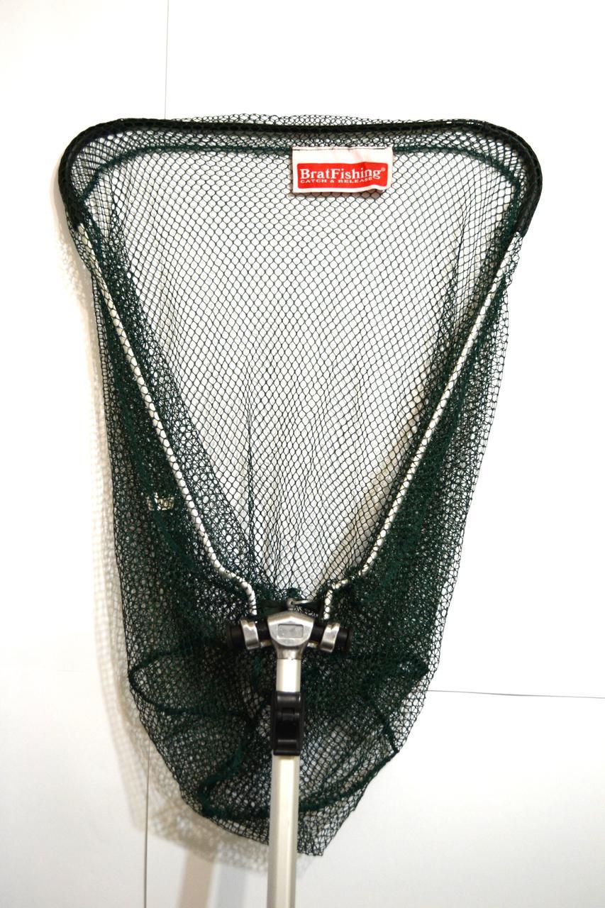 Подсак BratFishing треугольный складной, ручка телескопическая, Ø 40 см