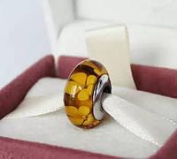 """Шарм бусина Pandora (Пандора) """"Муранское стекло Оранжевый цветочек"""""""