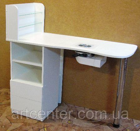 Стол для маникюра, маникюрный стол однотумбовый с хромированной ножкой
