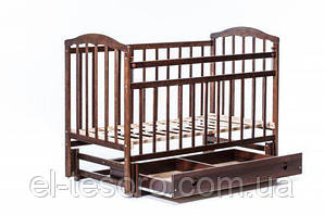 Детская кроватка «ЧАЙКА» маятник с ящиком + регулировка боковины тонированный орех