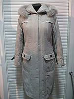 Куртка зимняя женская с капюшоном и натуральным мехом песца