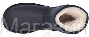 Женские угги UGG Classic Mini Leather Navy (мини Угги Австралия) оригинал с пропиткой синие, фото 2