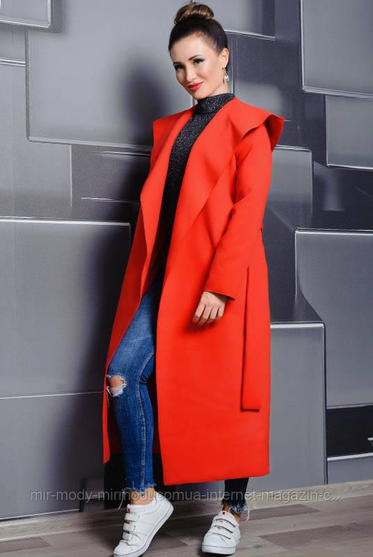 ЖЕНСКОЕ ПАЛЬТО С КАПЮШОНОМ МАРИЗ красный с 42 по 70 размер (лб)
