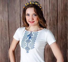 Женская футболка-вышиванка с синим орнаментом Гуцулка / размер S, L, XL, XXL