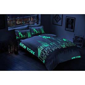 Постельное белье Tac сатин Glow - New York gri серый евро