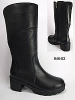Женские кожаные зимние сапоги на каблучке, зимние сапоги от производителя модель КА946-02