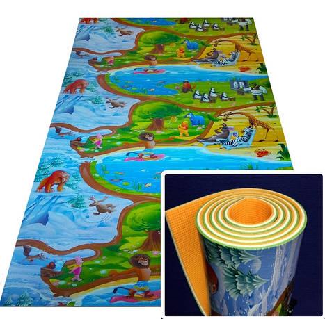 "Развивающий 3-х слойный  детский игровой коврик ""Мадагаскар"" 2500х1200х12мм"