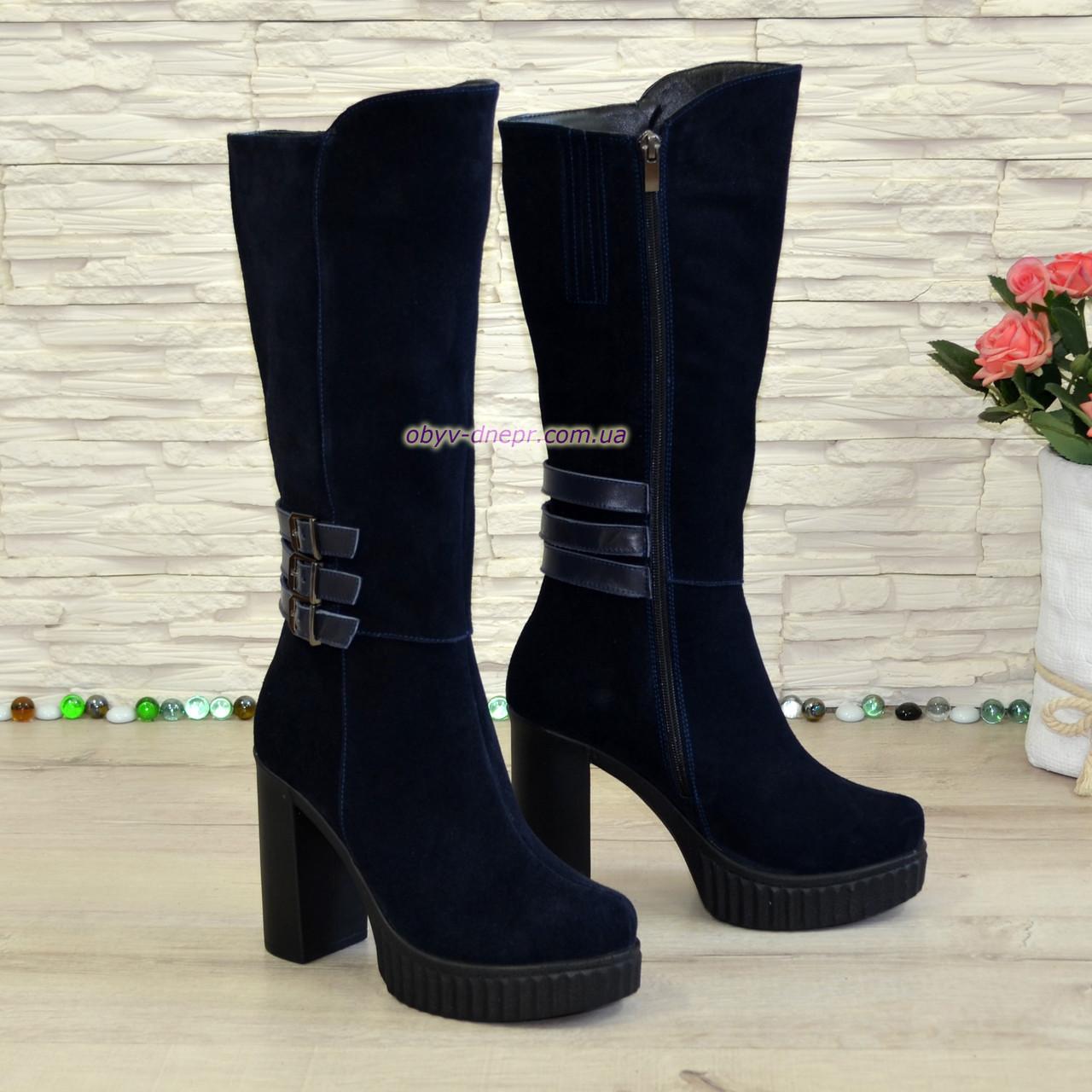 Сапоги замшевые женские демисезонные на высоком каблуке, декорированы ремешками. 38 размер