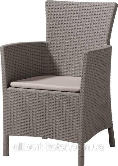 Стілець - крісло зі штучного ротангу IOWA капучіно (Allibert)