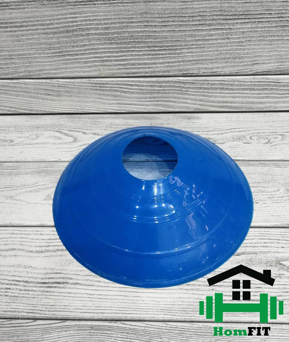 Фишка футбольная для пола малая круглая 5 см Цвет: синий
