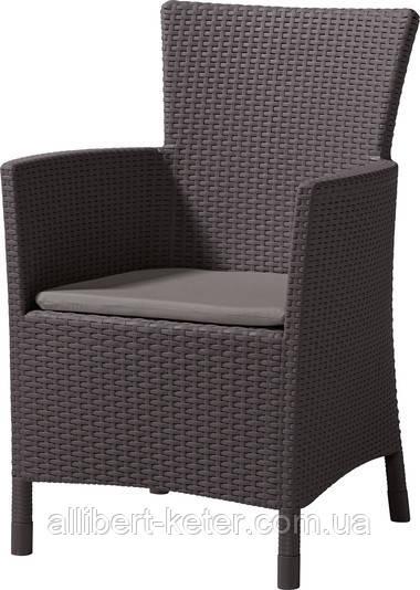 Стілець - крісло зі штучного ротангу IOWA темно-коричневий (Allibert)