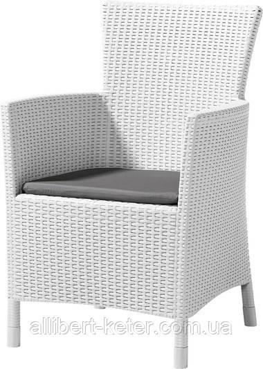Стілець - крісло зі штучного ротангу IOWA білий (Allibert)