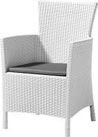 Стілець - крісло зі штучного ротангу IOWA білий (Allibert), фото 1