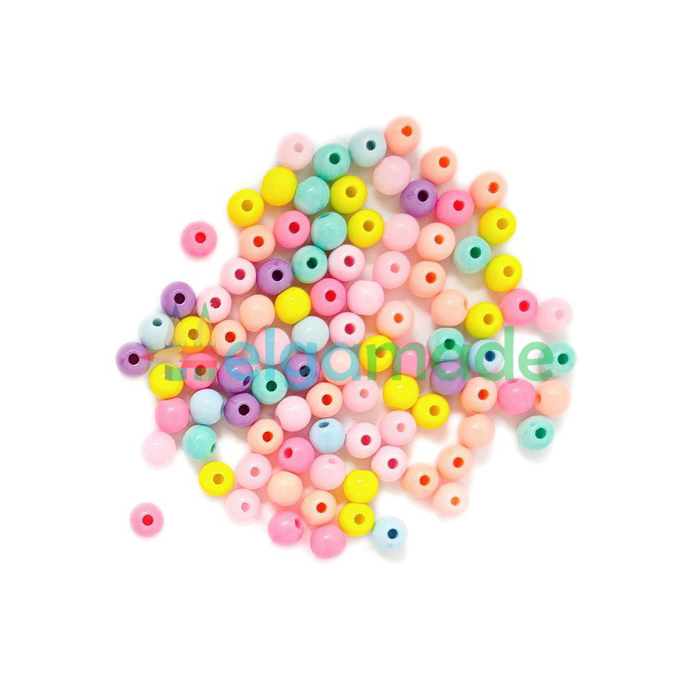 Пластикові намистини круглі 6 мм, 10 г, перламутровий МІКС