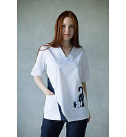 Костюм медицинский женский Bochi (белый/темно синий) 30071