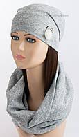Комплект шапочка и хомут Зайка Soft люрекс светло-серый