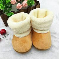 Теплые велюровые пинетки для малышей 12  см., фото 1