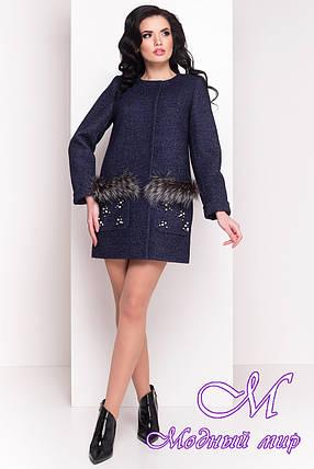 Женское темно-синее весеннее пальто (р. XS, S, M, L) арт. Ажен 1710 - 21096, фото 2