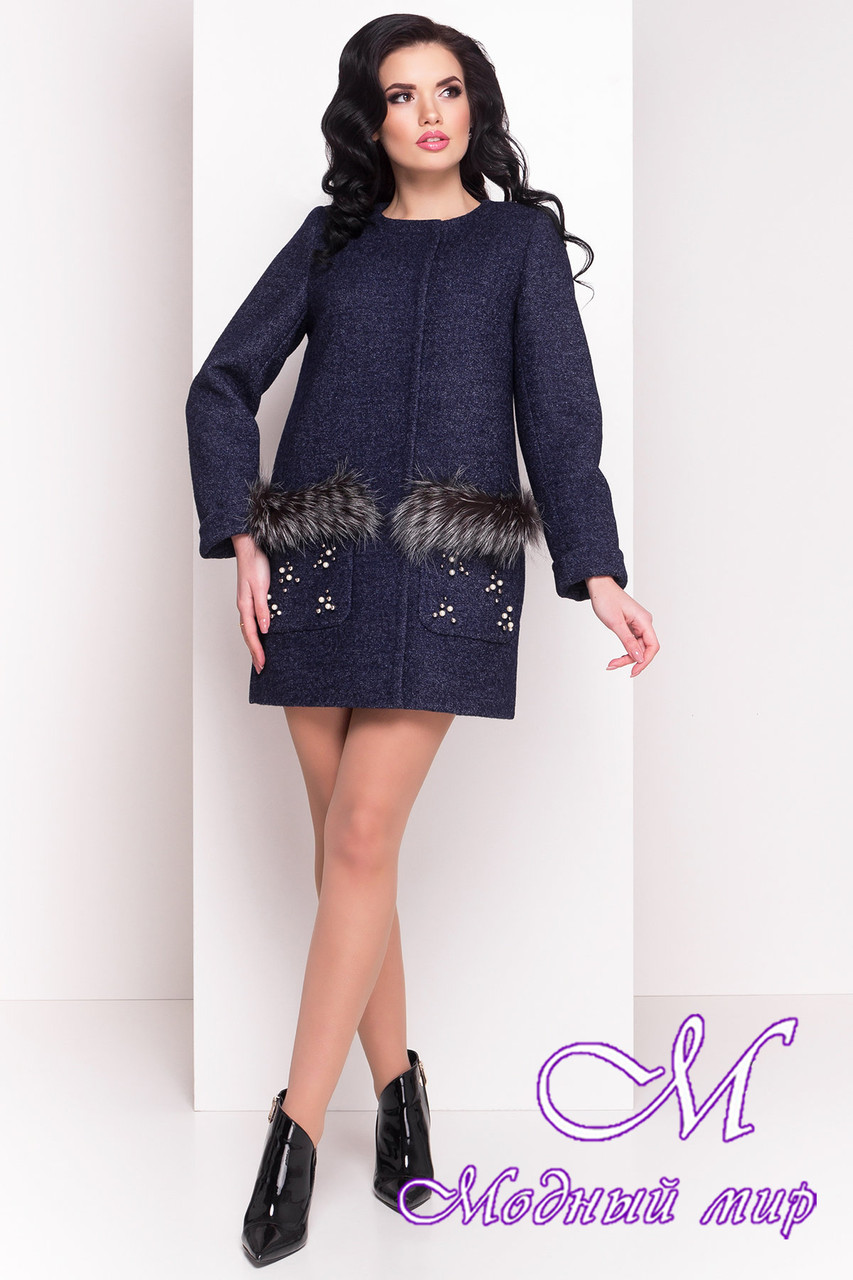 Женское темно-синее весеннее пальто (р. XS, S, M, L) арт. Ажен 1710 - 21096