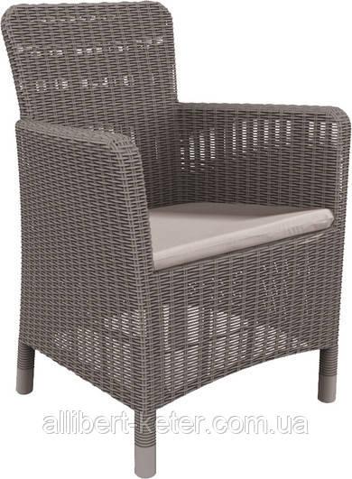 Стілець - крісло зі штучного ротангу TRENTON DINING капучіно (Allibert)