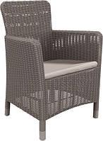 Стілець - крісло зі штучного ротангу TRENTON DINING капучіно (Allibert), фото 1